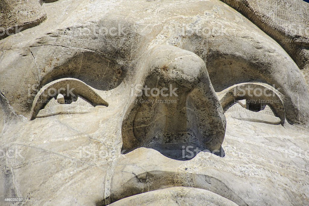 Close up of Thomas Jefferson at Mount Rushmore royalty-free stock photo
