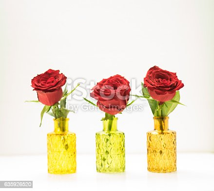 Close up of three roses in glass vases for Valentines Day.