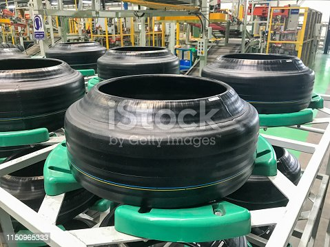 close up of tire at tire factory
