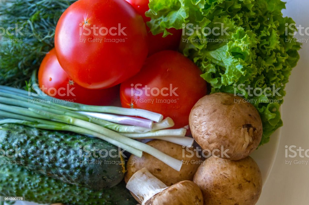 Close up van tomaten dill champignons en tomaten - Royalty-free Afvallen Stockfoto