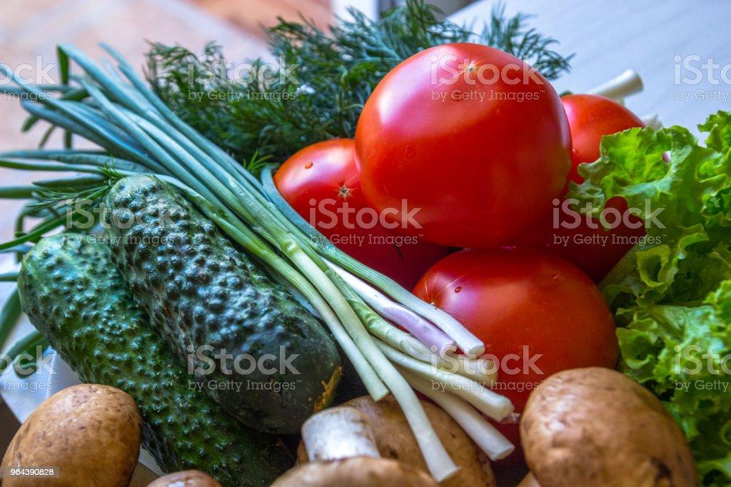 Close-up de tomate cogumelos de endro e tomate - Foto de stock de Agricultura royalty-free