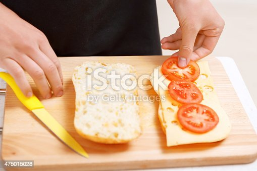istock Close up of tomatoes put on bread 475015028
