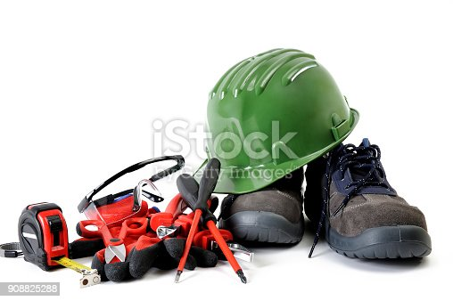 Safety equipment and tools for working on a residential electrical installation, photographed on a white background.
