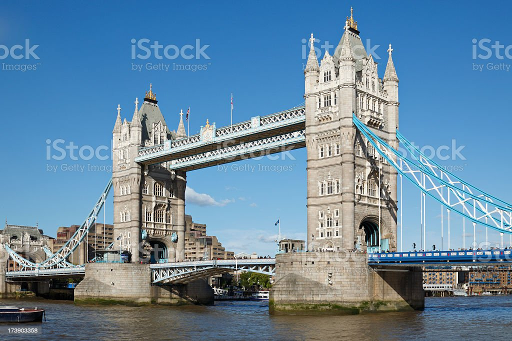 Close up of Tower Bridge in London on a sunny day royalty-free stock photo