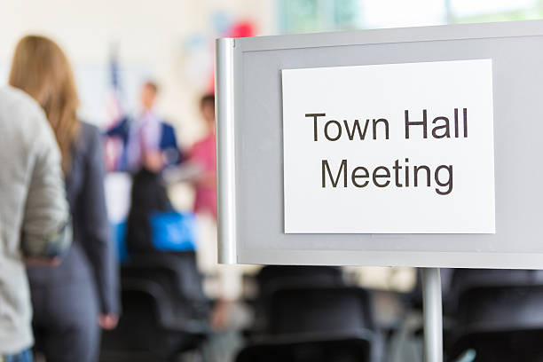 close up of 'town hall meeting' sign - stadshus bildbanksfoton och bilder