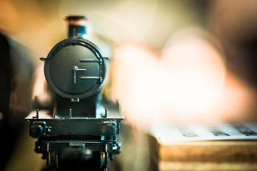 Close up of toy steam train