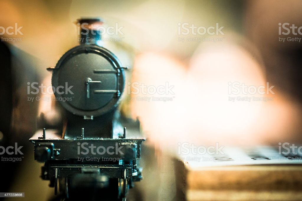 Close up of toy steam train stock photo