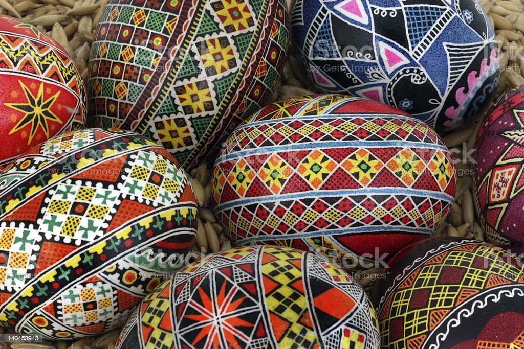 Close up of traditional Easter Eggs stock photo