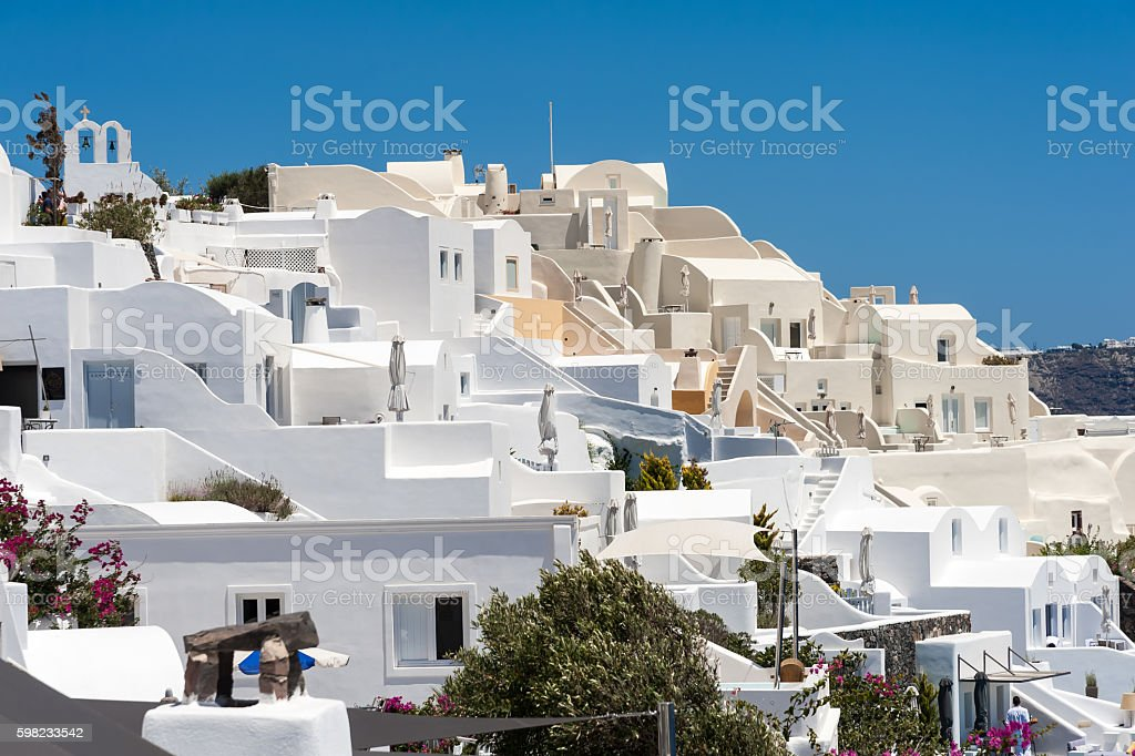 Close up of traditional Oia homes in Santorini foto royalty-free