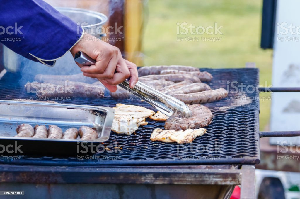 Close up of traditional south african boerewors / sausage on a grill / braai / barbecue stock photo