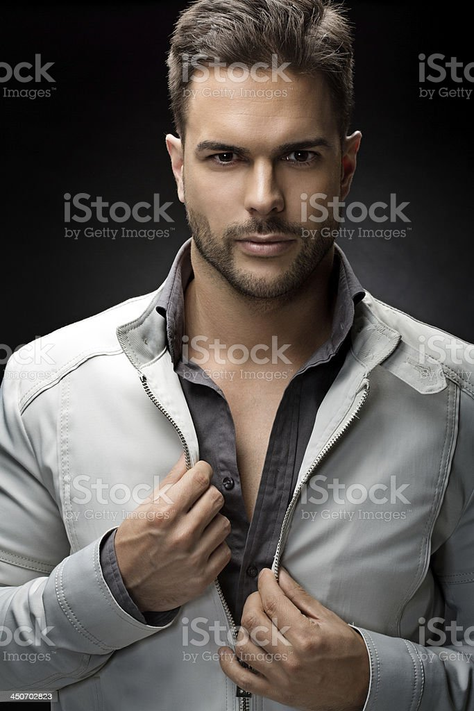 close up of trendy male model royalty-free stock photo