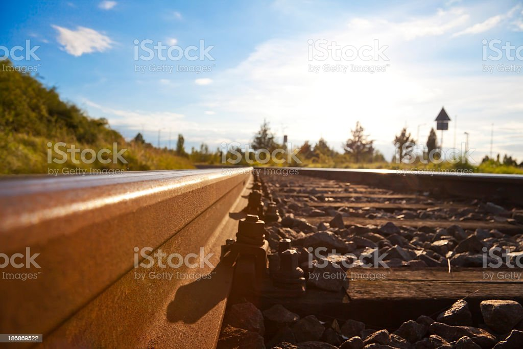 close up of trolley tracks royalty-free stock photo