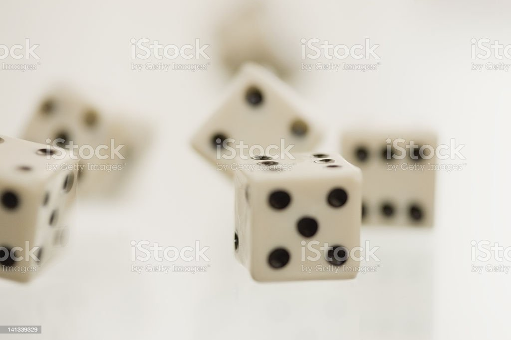 Close up of tumbling dice stock photo