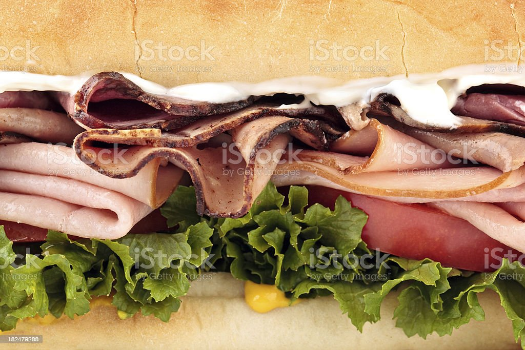close up of turkey and roast beef sandwich royalty-free stock photo