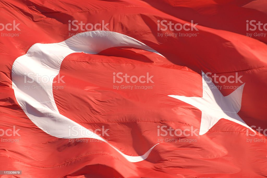 Close up of Turkish flag in the wind stock photo