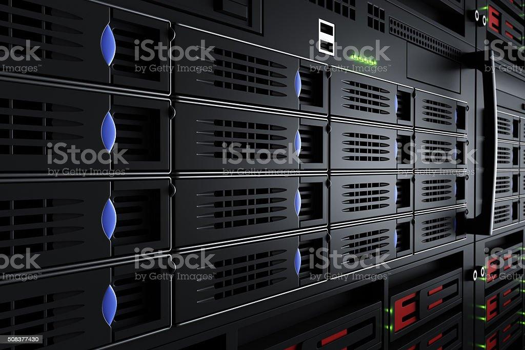 Close up of turned on server racks stock photo