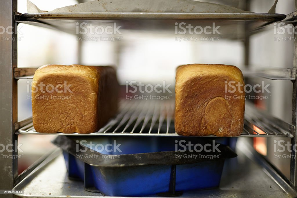 Close up of two bread loafs stock photo