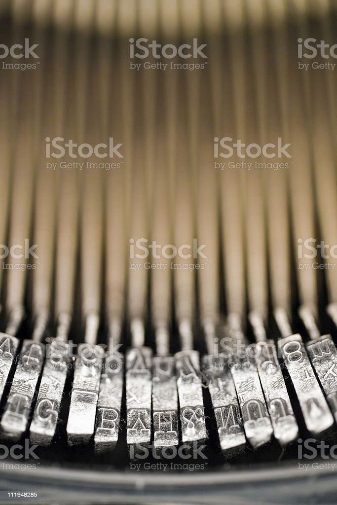Close up of type heads on old typewriter royalty-free stock photo