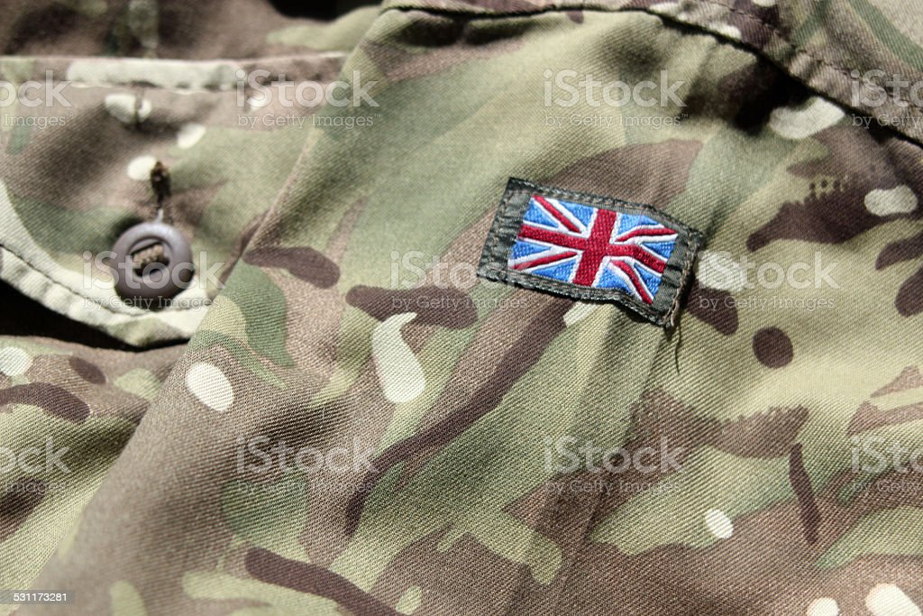 Close up of UK military uniform with union flag stock photo