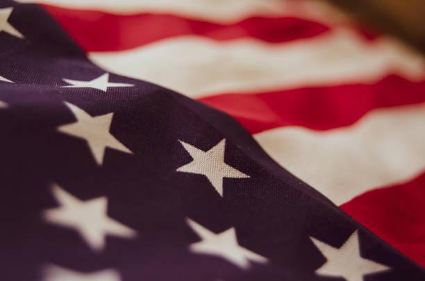 close up of usa flag - memorial day - fourth of july стоковые фото и изображения