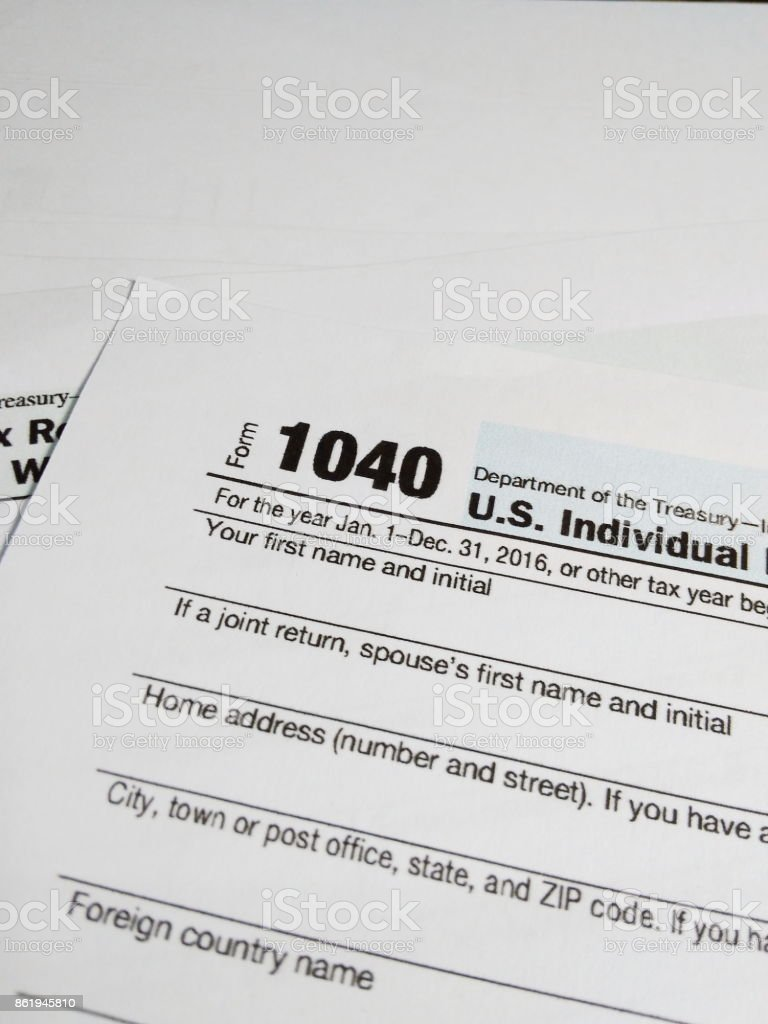 Close Up of USA Tax Form type 1040, Individual Income Tax Return stock photo