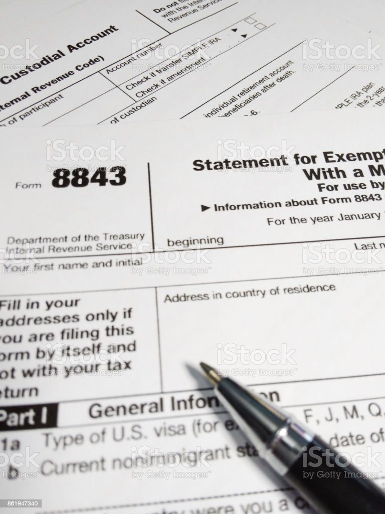 Close Up of USA Tax Form type 8843, Statement for Exempt Individuals and Individuals With a Medical Condition stock photo