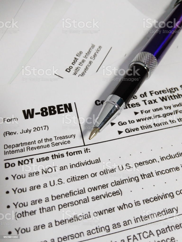 Close Up Of Usa Tax Form Type W8ben Certificate Of Foreign Status Of ...