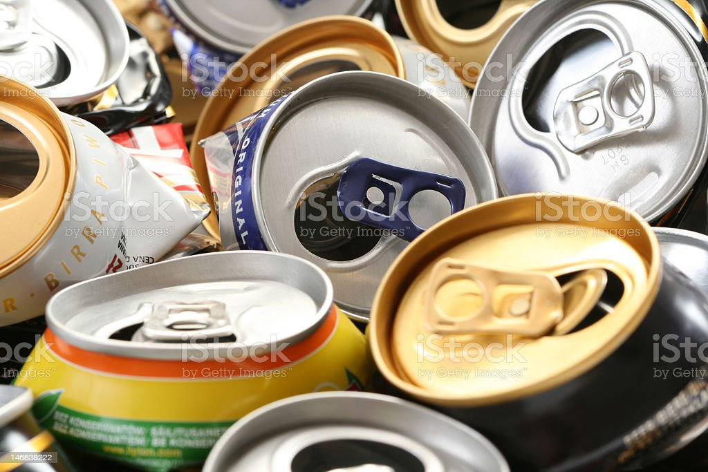 Close up of used cans to recycle stock photo