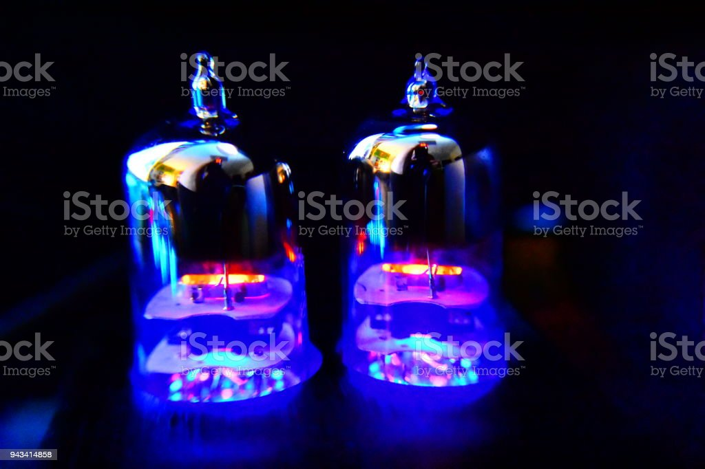Close up of Vacuum Tube amplifier stock photo