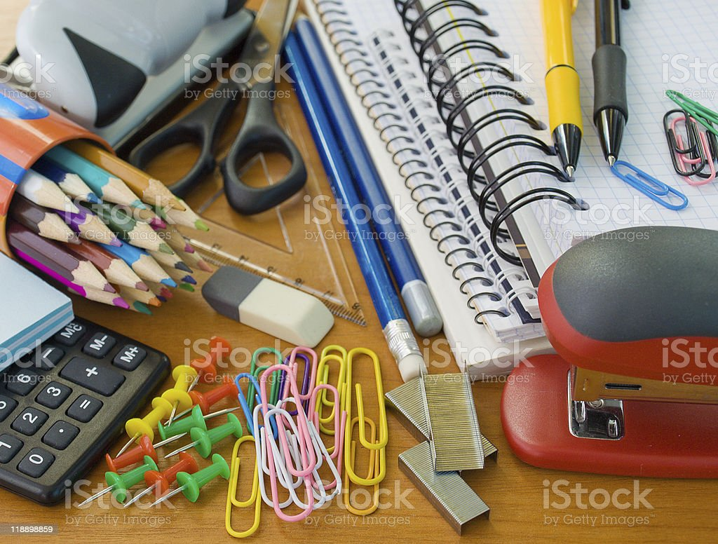 Close up of various school supplies royalty-free stock photo