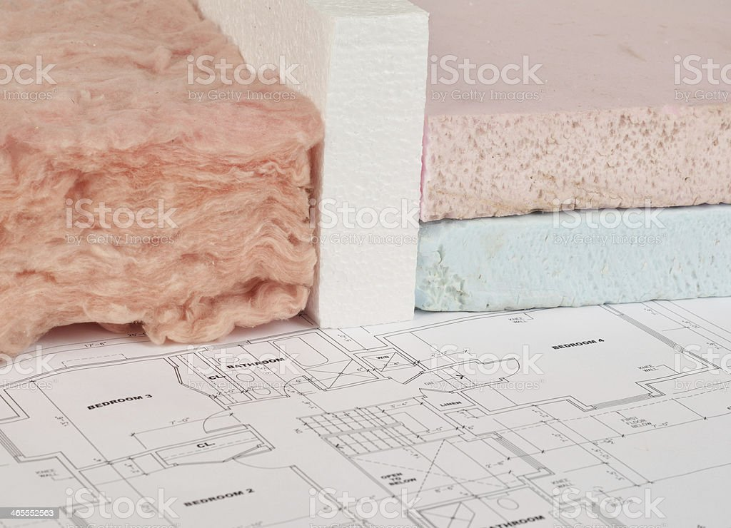 Close up of various types of wall insulation stock photo