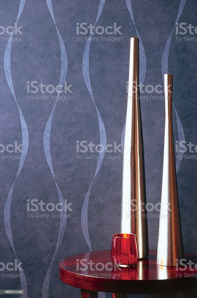 Close up of vases against wallpaper stock photo