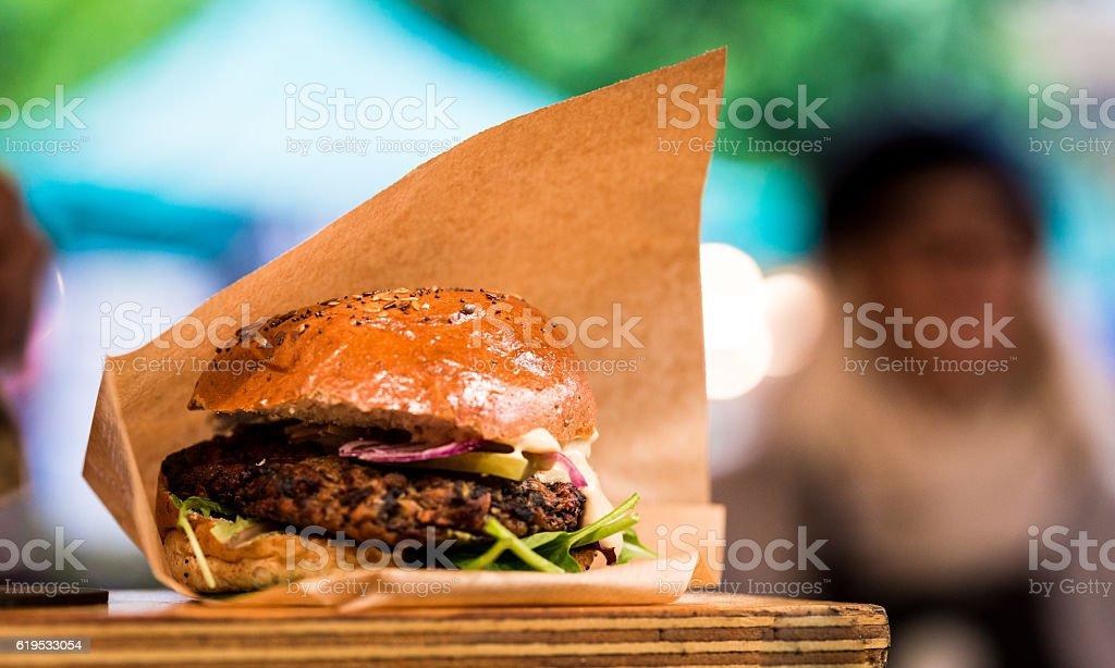 Close up of Vegan Burger at Borough Market, London, UK stock photo