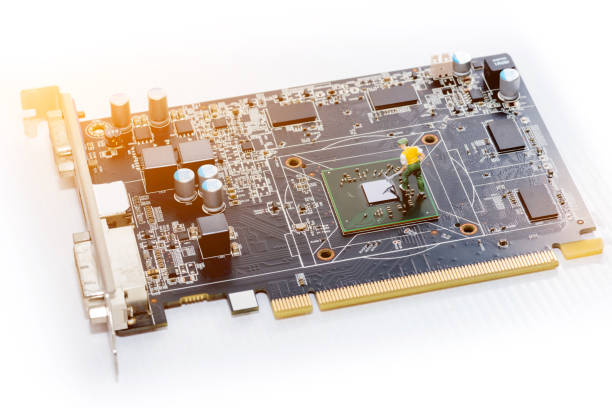 close up of video card (display card) on white background. – zdjęcie