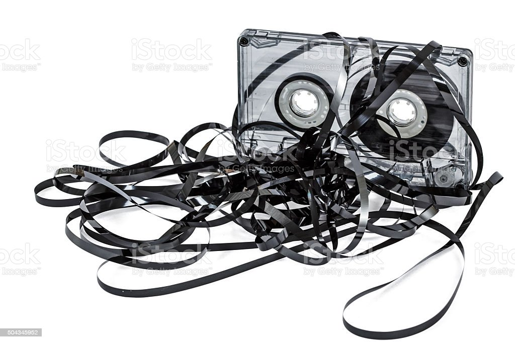 Close up of vintage audio tape cassette, isolated on white stock photo