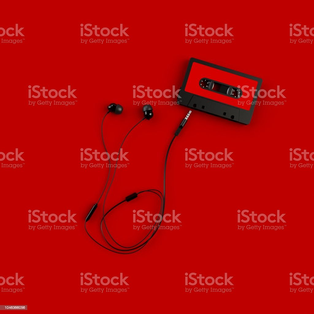 Close up of vintage audio tape cassette with head phone concept...