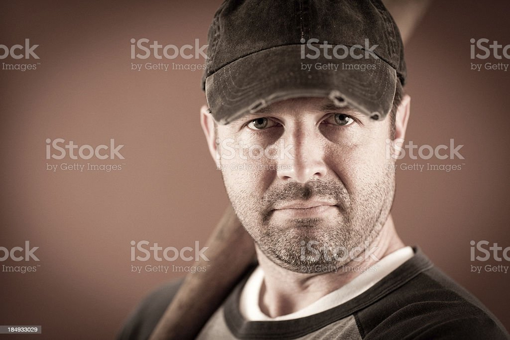 Close Up of Vintage Baseball Player in Batting Stance royalty-free stock photo