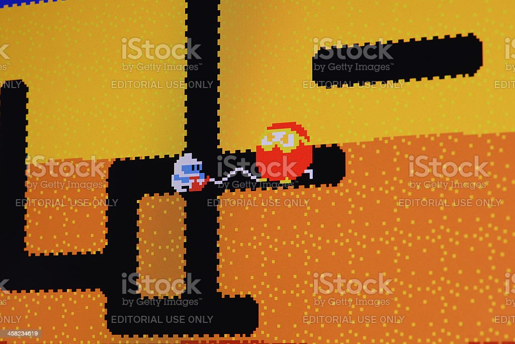 Close up of vintage classic videogame on computer monitor stock photo