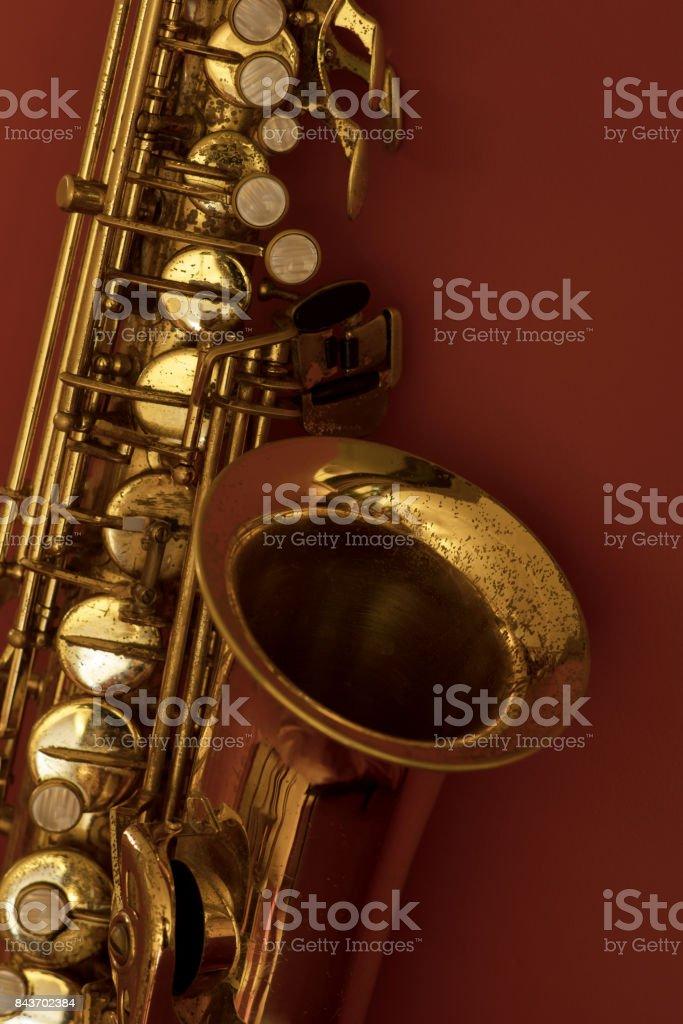 Close up of vintage saxophone stock photo