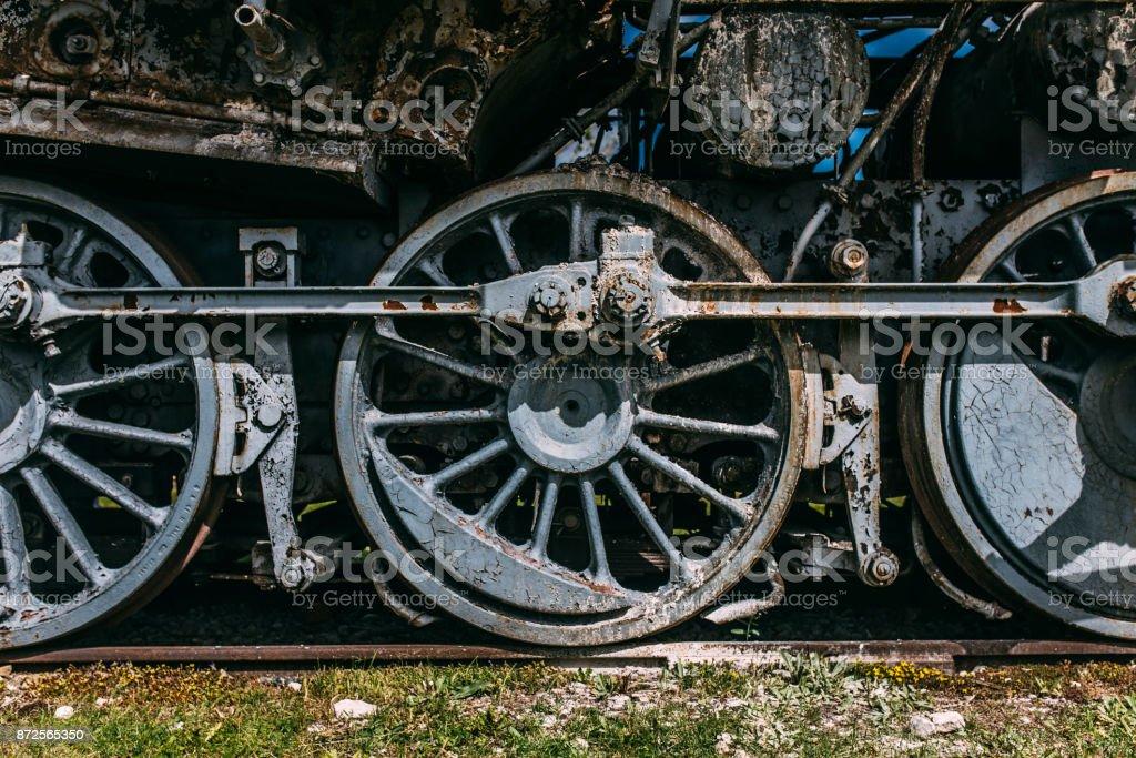 Close up of vintage steam locomotive wheels stock photo