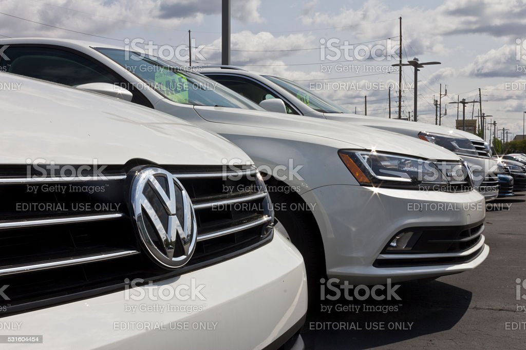 Indianapolis - May 2016: Close up of Volkswagen Logo I Indianapolis, US - May 15, 2016: Close up of Volkswagen Logo. VW is Among the World's Largest Car Manufacturers I Car Stock Photo