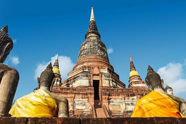 Close up of Wat Yai Chaimongkhon, Ayuthaya, Thailand stock photo