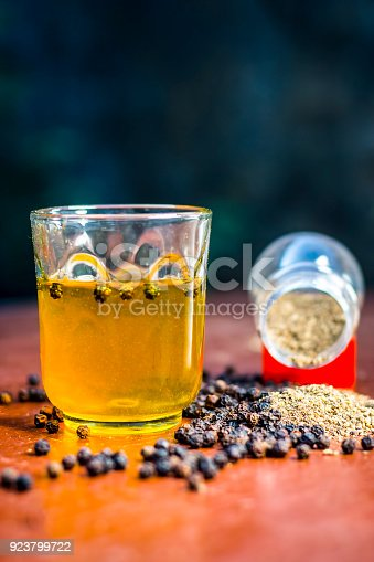 1073474208 istock photo Close up of water of herb black pepper,kali mari or Piper nigrum on the wooden surface. 923799722