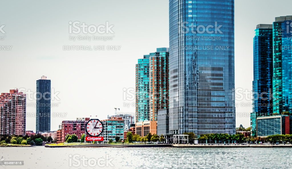 Close up of Waterfront Buildings lining the Hudson River in Jersey City.