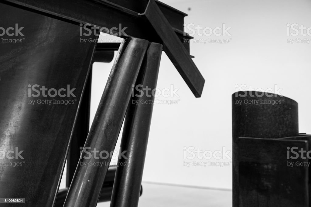 close up of welded metal tubes stock photo