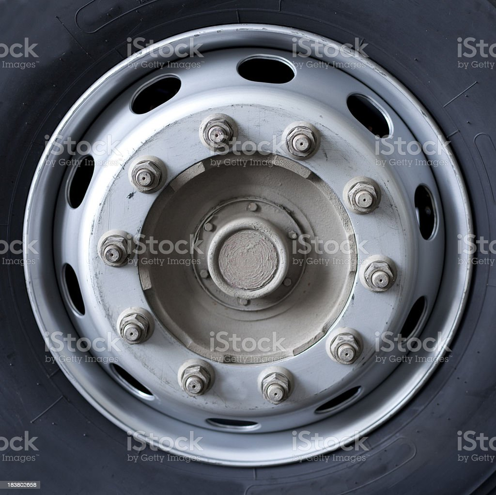 Close up of wheel nuts and rim on a truck stock photo