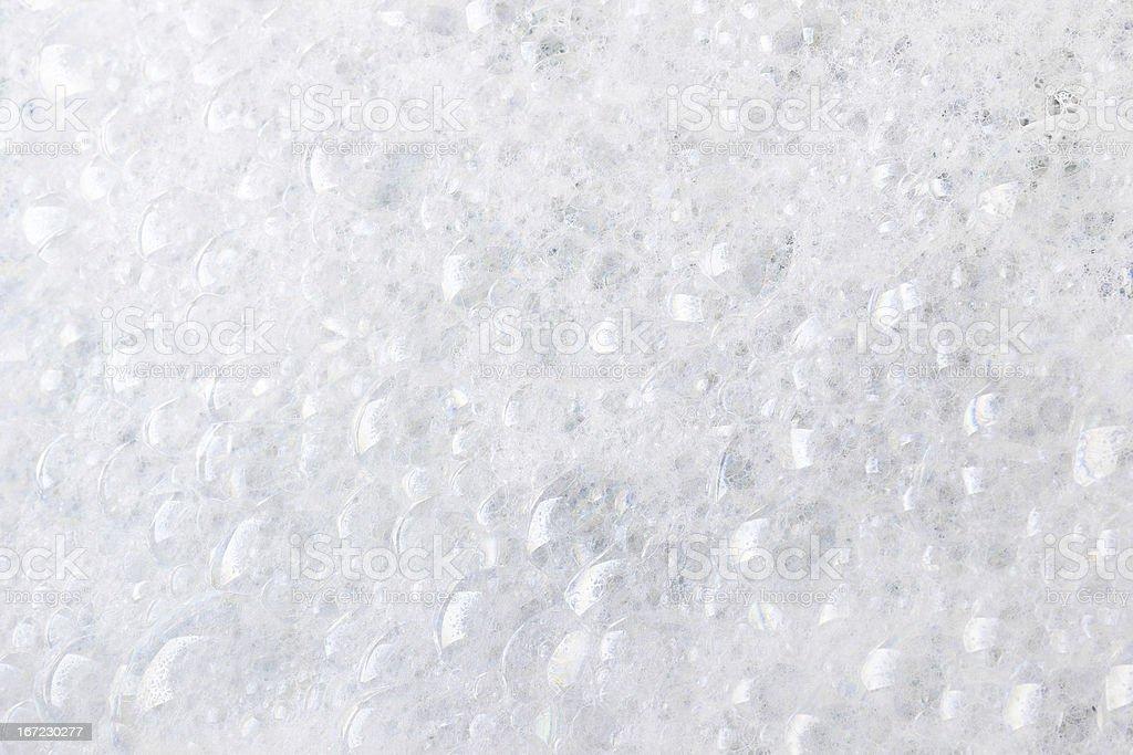 A close up of white foam bubbles stock photo