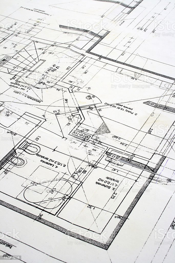 Close up of White House blueprint royalty-free stock photo
