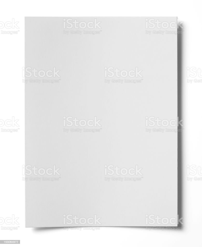 Close up of white paper with shadowed corners stock photo