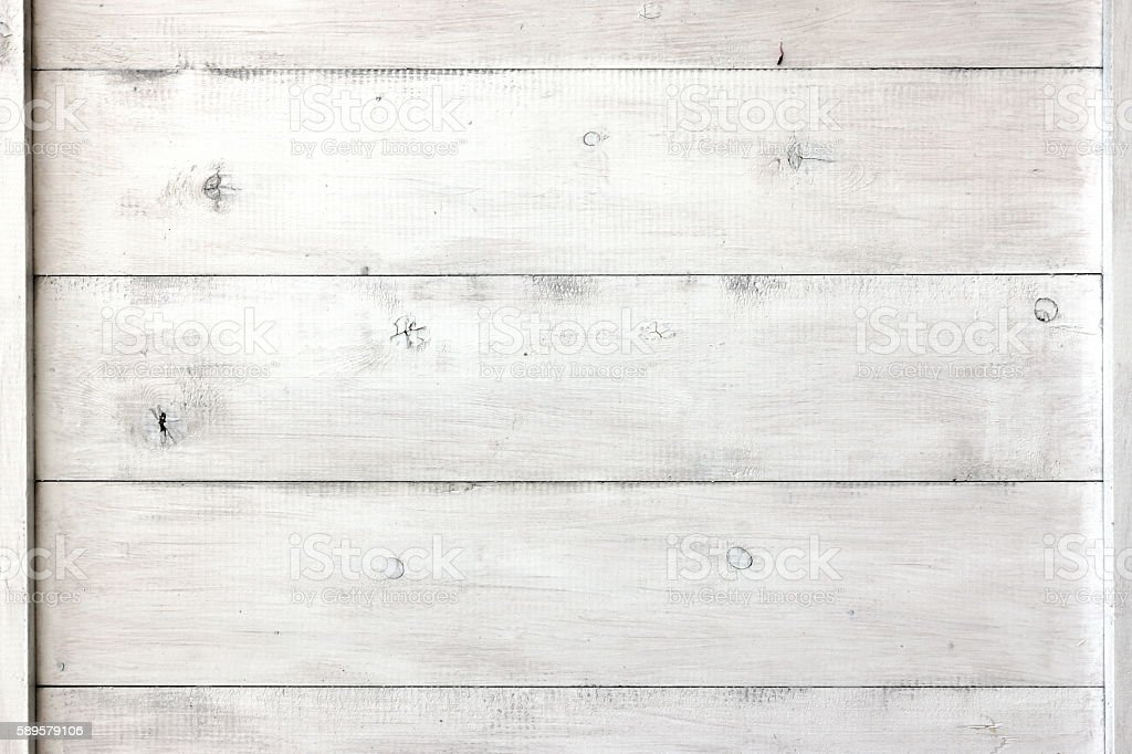 Close Up Of White Wood Planks Panel Background And Texture stock photo